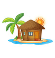 A small nipa hut in the island vector image vector image