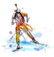 Colored hand sketch biathletes vector image