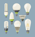 incandescent bulbs halogen and other different vector image