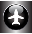 Plane silhouette on black button vector image