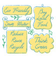set of hand drawn ecology lettering vector image