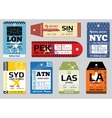 Vintage luggage tags travel labels set vector image