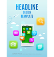 White smartphone with cloud of app colorful icons vector image