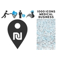Shekel Map Marker Icon with 1000 Medical Business vector image