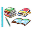 Sticker set with books and stationaries vector image