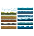 Set of landscape land sea and cloud backgrounds vector image vector image