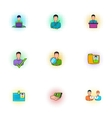 Manager icons set pop-art style vector image