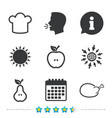 food icons apple and pear fruit symbols vector image