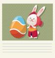 cartoon happy easter cute girl bunny egg vector image