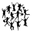 happy jumping business silhouettes vector image