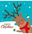card reindeer cheerful merry christmas vector image