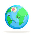 ecology sick sad suffer emotion nature earth globe vector image