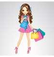 Girl In Pink Dress Do Shopping vector image