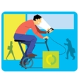 Man Cartoon on a Exercise Bike vector image