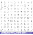 100 tourist attractions icons set outline style vector image