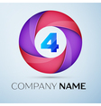 Number four logo symbol in the colorful circle vector image