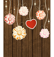 flowers on wood background vector image vector image