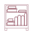 dark red line contour of decorative cabinet table vector image