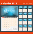 Wall calendar planner for 2018 year design print vector image