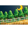 A view of the sleeping moon at the jungle vector image vector image