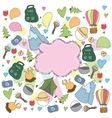 Hand-drawn bright doodle on the camping theme vector image