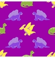 Seamless background Funny dinosaurs vector image