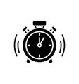 alarm clock icon black sign vector image