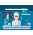 Doctor Sits in Laboratory vector image