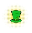 Green leprechaun cylinder hat icon comics style vector image