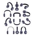 Isometric black headphones vector image