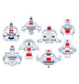 lighthouse icons for yacht club or bar vector image