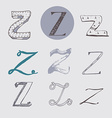 Original letters Z set isolated on light gray vector image
