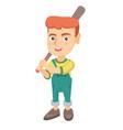 young caucasian boy playing baseball vector image