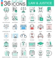 Law and justice color flat line outline vector image vector image