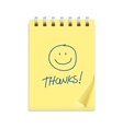 Yellow note paper and smile text vector image vector image