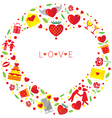 Heart Shape Love Icons Wreath vector image