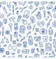 Health care doodle icons background vector image
