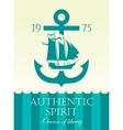 banner with anchor and sailing boat vector image vector image