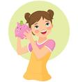 girl holding money box vector image