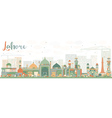 Abstract Lahore Skyline with Color Landmarks vector image vector image