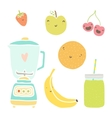 hand drawn isolated fruits blender and vector image