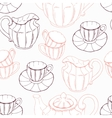Seamless pattern with sketch style tea service and vector image