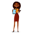 African American businesswoman with tablet vector image