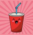 kawaii cup soda straw image vector image