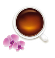 Cup Of Tea With Orchids vector image vector image