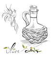 olive and pitcher with olive oil vector image vector image