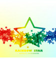 big rain bow star pattern background vector image