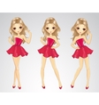 Girl Dancing In Different Poses vector image