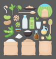 soy flat icon set vector image