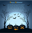 Blue halloween background with pumpkins vector image vector image